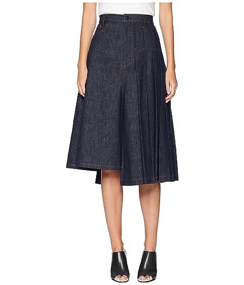 Y's by Yohji Yamamoto S-Asymmetry Pleats Denim Skirt