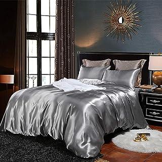 Bonhause Sets de Housse de Couette 220 x 240 cm + 2 Taies d'oreiller 65 x 65cm Soie comme Le Satin Gris Parure de Lit 2 Pe...