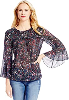 Womens Floral Bell Sleeve Pullover Blouse