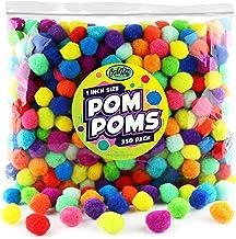 Carl & Kay [350 Pcs] 1 Inch Pom Poms, Bulk Craft Pompoms in Bright & Bold Assorted Colors, Pompoms for Crafts, Assorted Po...