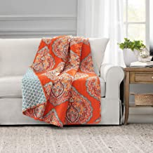 "Lush Decor Harley Throw Blanket, 60"" x 50"", Tangerine"