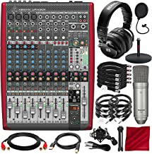 Behringer XENYX UFX1204 Premium 12-Input 4-Bus Mixer with PreSonus HD9 Headphone, Tascam TM-80 Microphone, and Assorted Cables Platinum Bundle