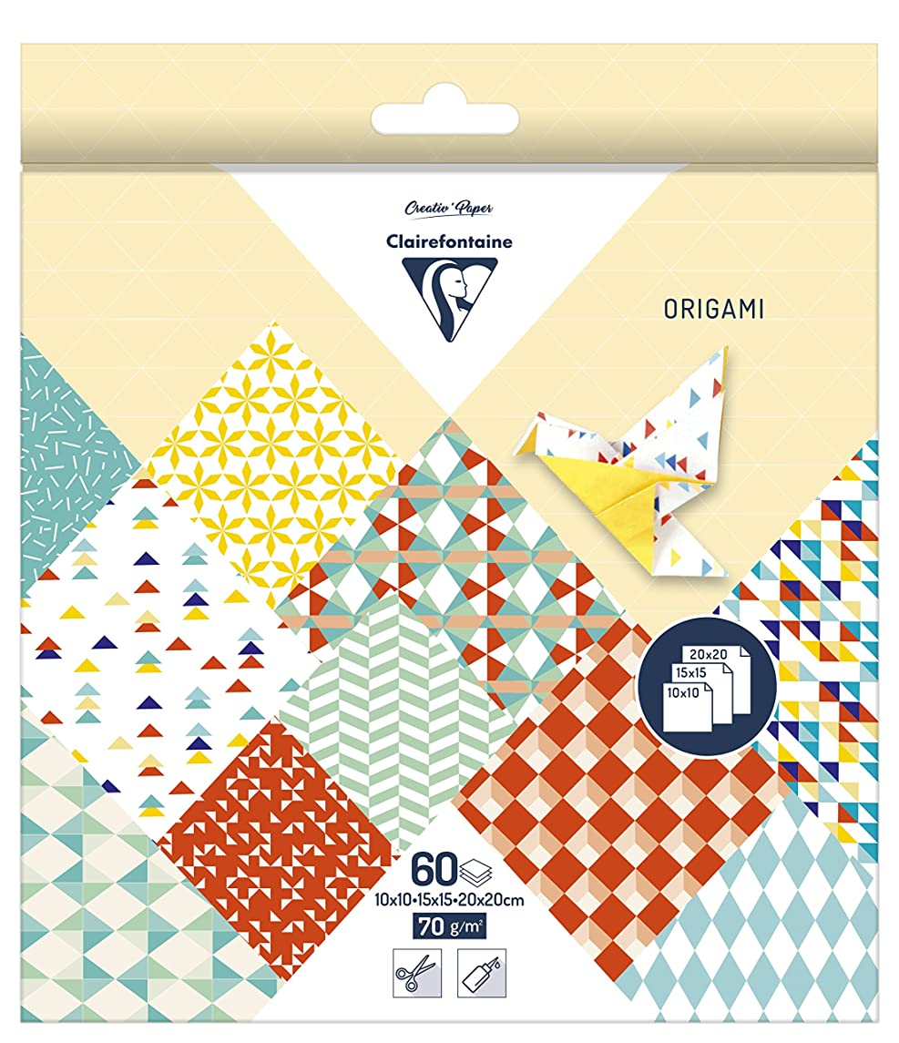 Clairefontaine Origami Paper, 70 GSM, 3 Sizes, Kaleido, 60 Sheets