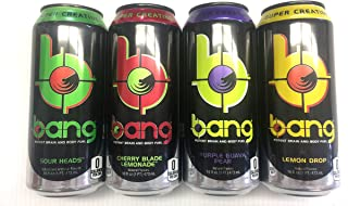 VPX Bang Variety - Sour Heads, Purple Guava Pear, Cherry Blade Lemonade, Lemon Drop - 16fl.oz. (Pack of 16)