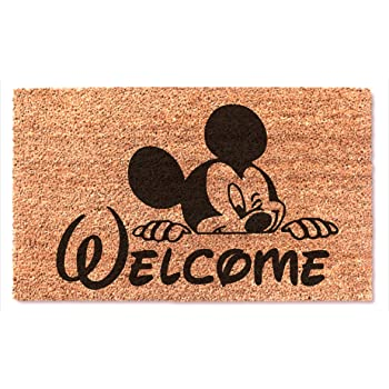 Welcome Cute Mickey Mouse Peek Funny Non Slip Doormat Entryway Outdoor Floor Mat Easy Clean Home Decor Housewarming Wedding New House Birthday Gift Door Rug Brown Mat with Black Font