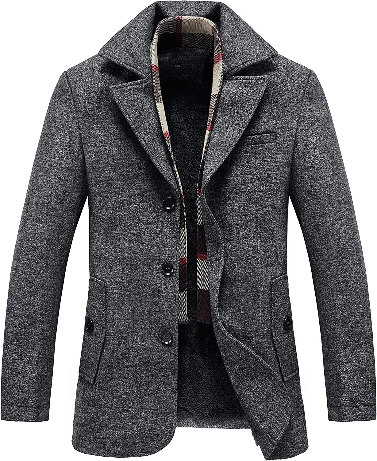 RongYue Men's Wool Blend Pea Coat Fleece Lined Jacket with Removable Soft Wool Plaid Scarf