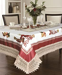 """Violet Linen Decorative Printed Fruttela Tablecloth with Lace Trimming, Burgundy, 70"""" x 88"""""""