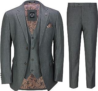 Mens Classic 3 Piece Pin Stripe Grey Suit Retro 1920s Tailored Fit