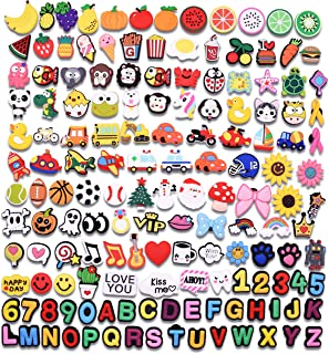 150pcs PVC Letters Alphabet Numbers Softball Fruit Christmas Halloween Animals Shoe Charms Decorations Fits for Croc Clog Shoes & Jibbitz Wristband Bracelet Party Gifts