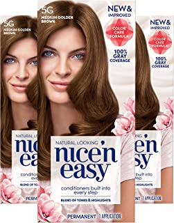 Clairol Nice'n Easy Permanent Hair Color, 5G Medium Golden Brown, 3 Count