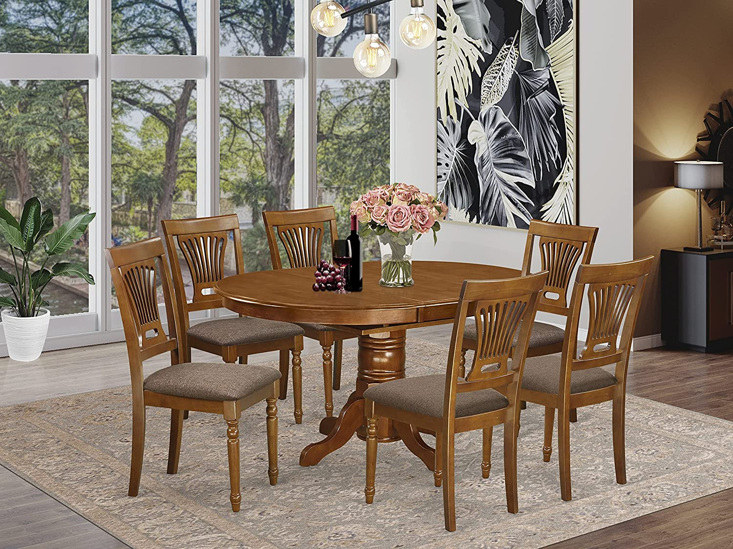 East West Furniture AVPL7-SBR-C Sales Dining Seat Linen Attention brand Set Fabric