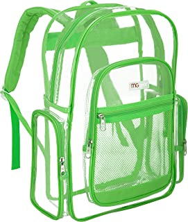 MGgear 17-Inch Clear Security Backpack with Florescent Green Trim, Transparent PVC Book Bag