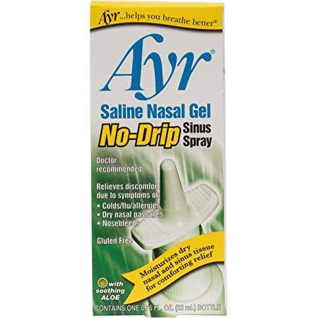 Ayr Saline Nasal Gel No-drip Sinus Spray With Soothing Aloe Vera, 0.75 Fl Oz Spray Bottle, (Pack of 1)