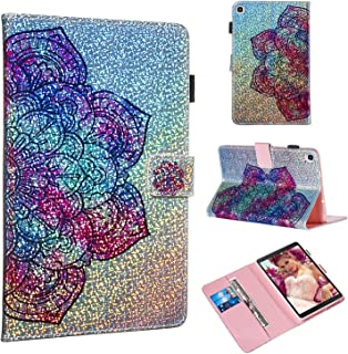 Galaxy Tab A 8.0 2019 Case, Folice Glitter Bling Kickstand Leather with Magnetic Closure Cover for Samsung Galaxy Tab A 8.0 2019 SM-P200/P205 (Datura Flower)