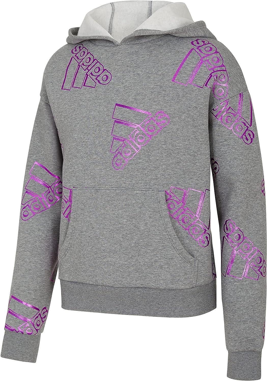 adidas Girls' Allover Print Foil Fleece Hoodie