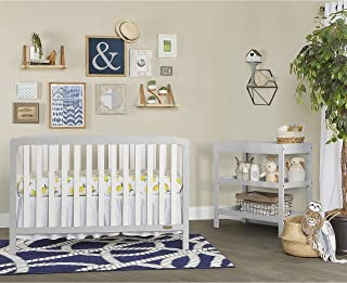 Dream On Me Ridgefield II 5 in 1 Convertible Crib in White with Wire Brushed Pebble Grey