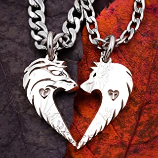 Wolf Couples Necklaces, Custom Initials engraved, Wolves making Heart, Relationship Jewelry, Half Dollar, hand cut coin by Namecoins