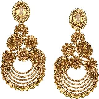 Bindhani Indian Traditional Bollywood Jewelry Fashion Ethnic Bride Bridesmaid Bridal Bollywood Gold Plated Wedding Jewellery Kundan Rhinestone Stone Long Dangle Drop Earrings For Women
