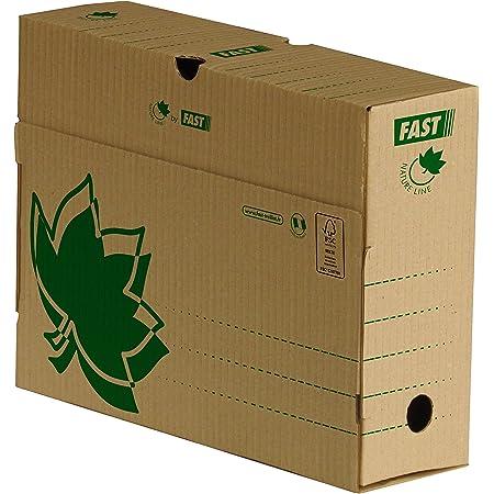 FAST Lot de 10 Boîtes d'Archives Manuelles Natural Line 25x33cm Dos 10cm Couverture Carte Recyclée Kraft