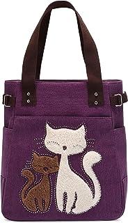 Damen Canvas Handtasche Kaukko Schultertasche Katze Big Tote Bag, Violett 1, Einheitsgröße,