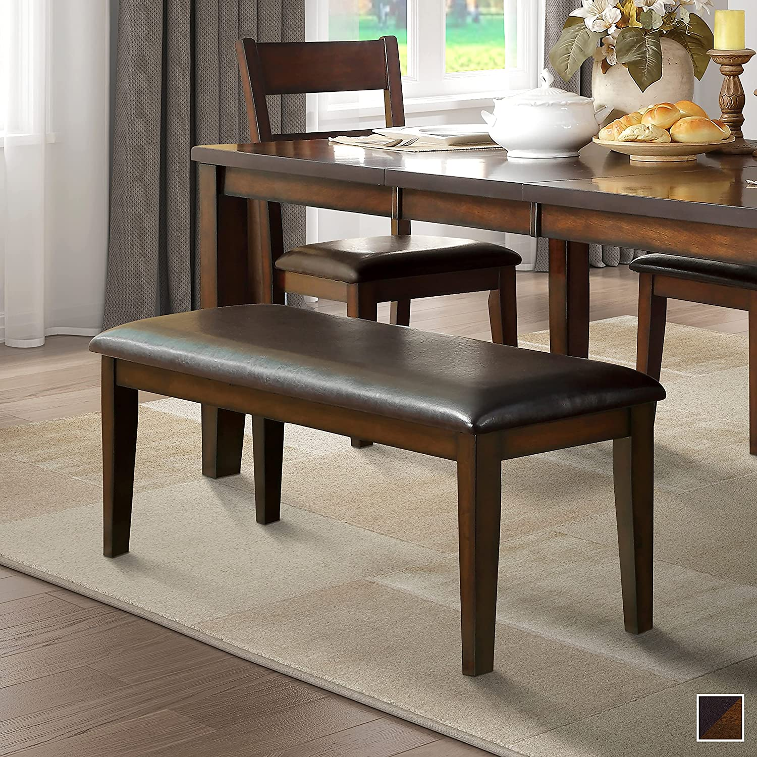 Unknown1 Dining Bench Brown Upholstered Contemporary Under blast sales Cher discount Modern