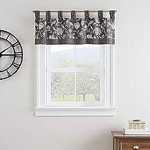 """WAVERLY استنسل كرمة قصيرة ستارة نافذة صغيرة ستائر حمام، غرفة المعيشة والمطابخ، 52"""" x 18""""، أسود"""