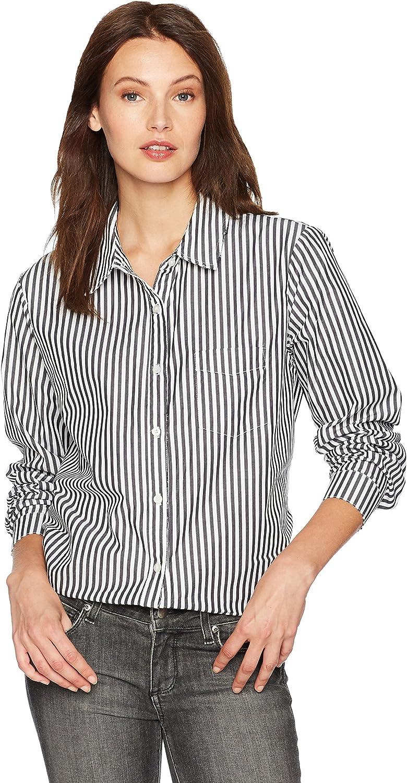 Stateside Women's Stripe Raw Edge Button Down Shirt