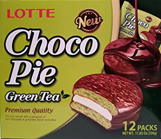 Lotte Choco Pie Green Tea, 12 individually packed pieces, 11.85 oz (Green Tea)
