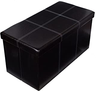 BIRDROCK HOME Faux Leather Folding Storage Ottoman Bench - Strong and Sturdy - Quick and Easy Assembly - Foot Stool - Black