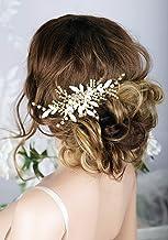Kercisbeauty - Peineta de boda hecha a mano con peinetas doradas y hojas de perla para novias, accesorio para el pelo para graduación, velada, mujer