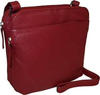 Pielino Women's Genuine Leather Double Zipper Crossbody Bag (Red)