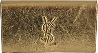 Yves Saint Laurent YSL Women's Leather Large Belle de Jour Clutch Handbag (Metallic Gold)