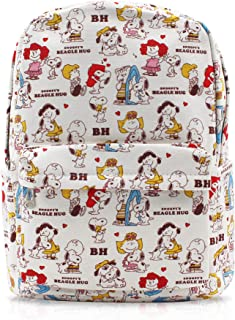 Finex White Snoopy Canvas Backpack with Laptop Storage Compartment for School College Daypack Causal Travel Bag