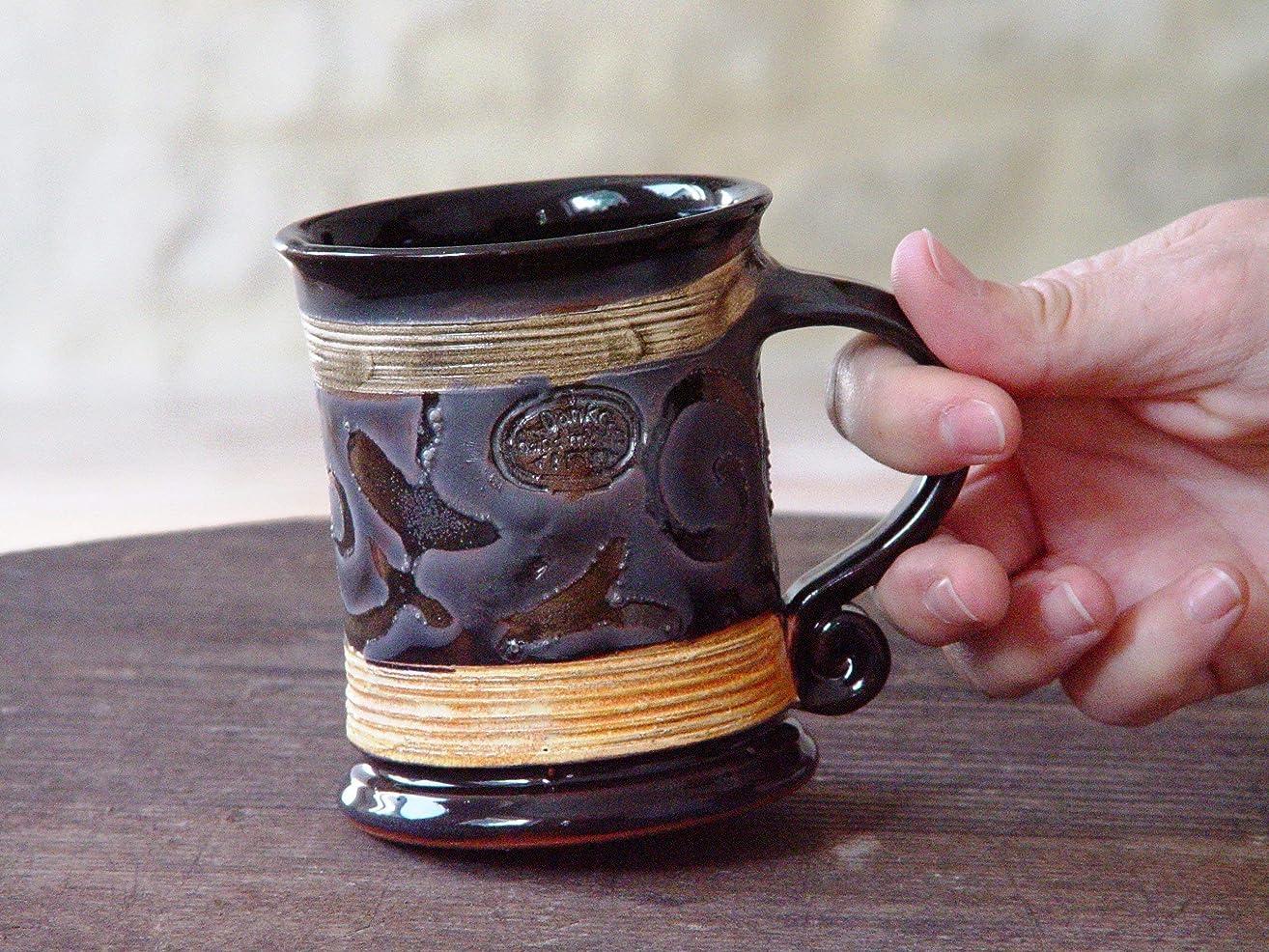 Unique Handmade Pottery Mug, Wheel Thrown Black Coffee Mug