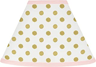 Sweet Jojo Designs Baby Girl Childrens Lamp Shade for Blush Pink White Damask and Gold Polka Dot Amelia Collection