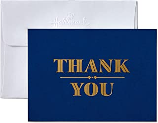 Hallmark Thank You Cards with Envelopes, Navy and Gold Foil (10 Thank You Notes)