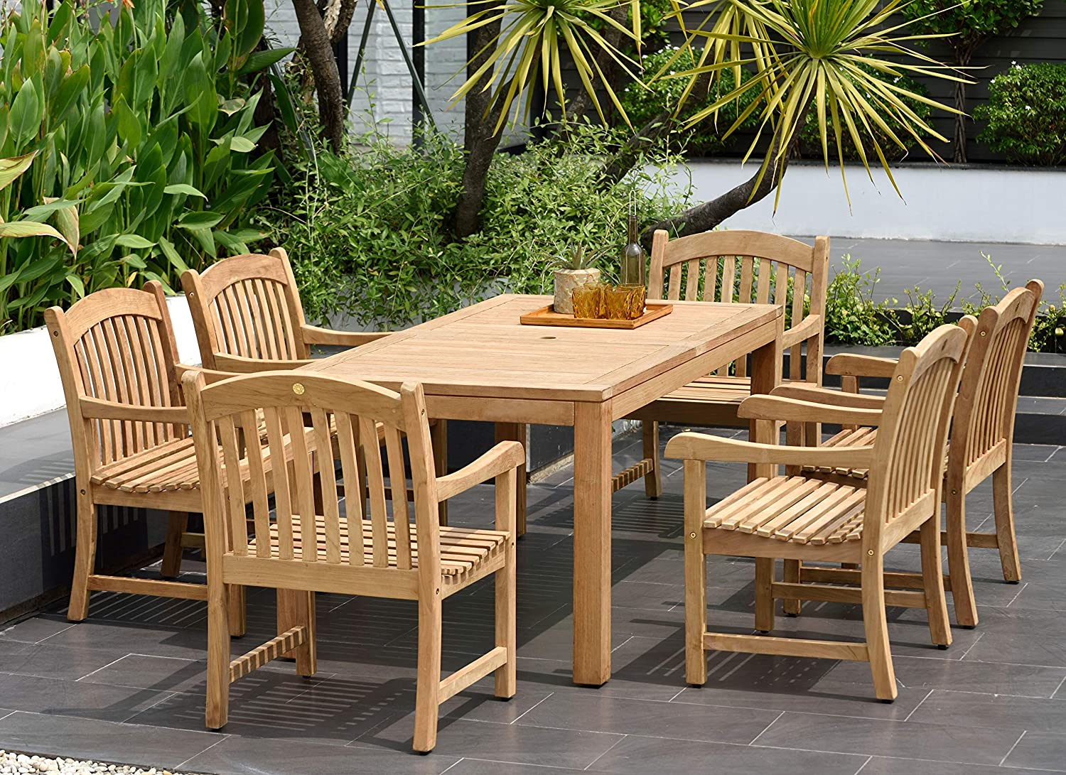 Amazonia Pennsylvania 9 Piece Outdoor Rectangular Dining Table Set    Certified Teak   Ideal for Patio and Indoors, Light Brown