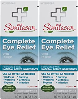 Similasan Complete Eye Relief Eye Drops 0.33 Ounce Bottle, for Temporary Relief from Red Eyes, Dry Eyes, Burning Eyes, Watery Eyes, 2 Count