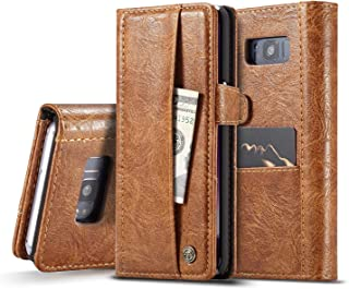 Protective Case Compatible with Samsung Compatible Samsung Galaxy S8Plus Case, Simple Business Flip PU Leather Wallet Card Slots Bag Cover 360 Full Body Protection Case Phone case (Color : Brown)