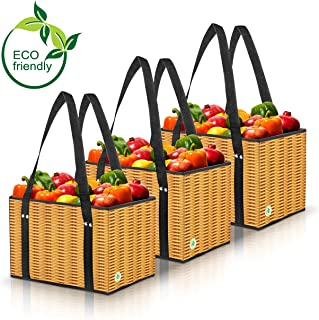 Green BD's Reusable Grocery Bags. Large, Stain Resistant Vinyl & Spillover Proof. Eco Friendly Collapsible Shopping Box Bags with Fold Out Reinforced Bottom. Wicker Print. (Set of 3)