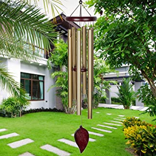 KOSSLY Sympathy Wind Chimes Outdoor - 30 Inch 6 Rustproof Aluminum Tubes Wooden Wind Bell Romantic Memorial Wind Chimes fo...