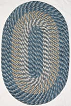 "product image for Plymouth 5' 6"" x 8' 6"" (66"" x 102"") Oval Braided Rug in Colonial Royal Blue Made in USA"