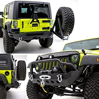 Restyling Factory -Rock Crawler Front Bumper w/ Winch Plate+Full Width Rear Bumper with Tire Carrier and 2