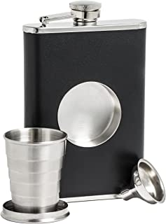 Shot Flask – Stainless Steel 8 oz Hip Flask, Built-in Collapsible 2 Oz. Shot Glass..