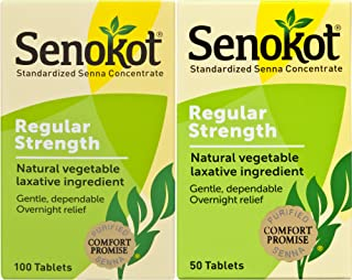 Senokot Regular Strength, 100 Count & 50 Count Tablets Bundle, Natural Vegetable Laxative Ingredient Senna for Gentle Dependable Overnight Relief of Occasional Constipation, 2 Count
