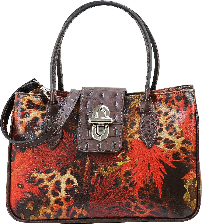 SH Leder Ida G381 Petit sac à main pour femme avec imprimé léopard et feuille d'aluminium 25 x 16 cm Marron Foncé