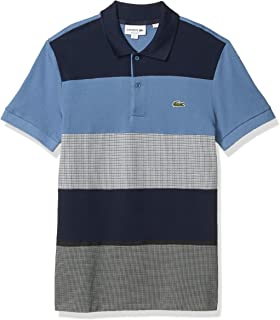 Lacoste Mens Short Sleeve Mix Jacquard/2Ply Pique Tattersall Polo Shirt