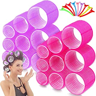42 Pieces Jumbo Size Hair Roller Set, Include 30 Pieces Self Holding Rollers Self Grip Hair Curler Hairdressing Roller Pur...