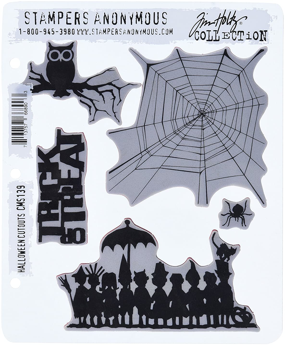 Stampers Anonymous Tim Holtz Cling Rubber Stamp Set, 7 by 8.5-Inch, Halloween Cutouts