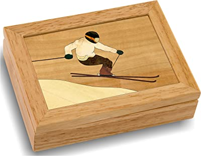 MarqART Ski Wood Art Jewelry Trinket Box & Gift - Handmade USA - Unmatched Quality - Unique, No Two are The Same - Original Work of Wood Art (#4120 Skier 4x5x1.5)